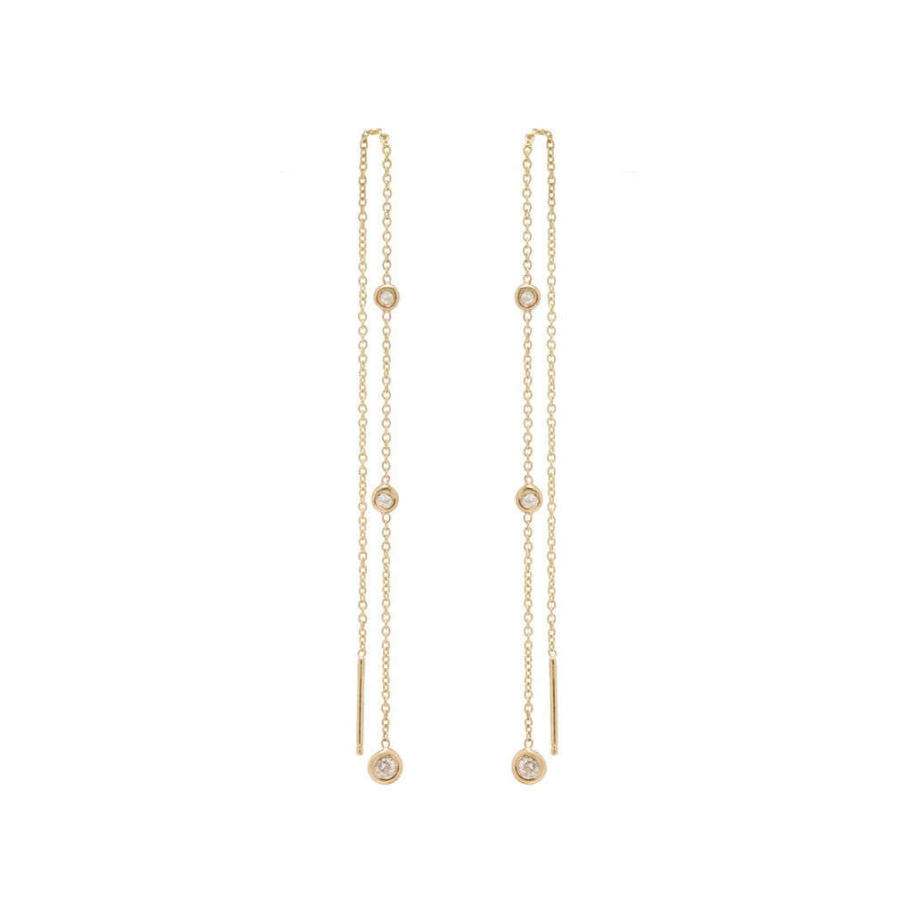 14k graduated white diamond chain threaders