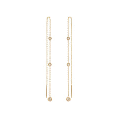Zoë Chicco 14kt Yellow Gold Graduated Floating White Diamond Chain Threader Earrings