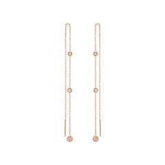 Zoë Chicco 14kt Rose Gold Graduated Floating White Diamond Chain Threader Earrings