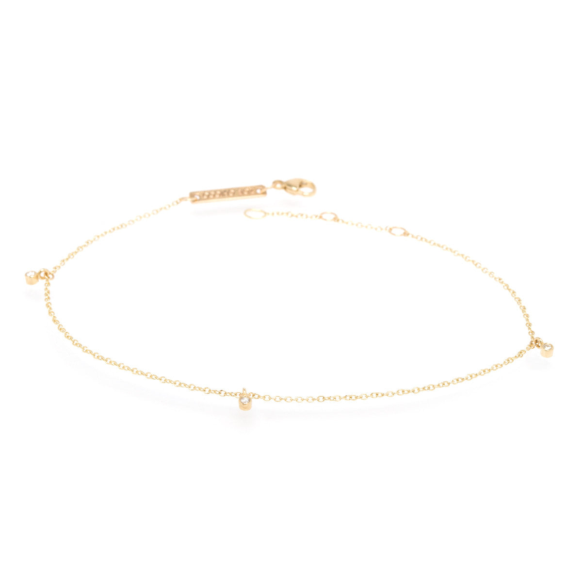 14k three diamond anklet
