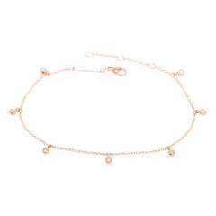 Zoë Chicco 14kt Rose Gold 7 Dangling White Diamond Anklet