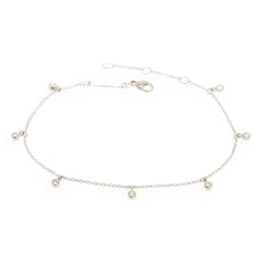 Zoë Chicco 14kt White Gold 7 Dangling White Diamond Anklet