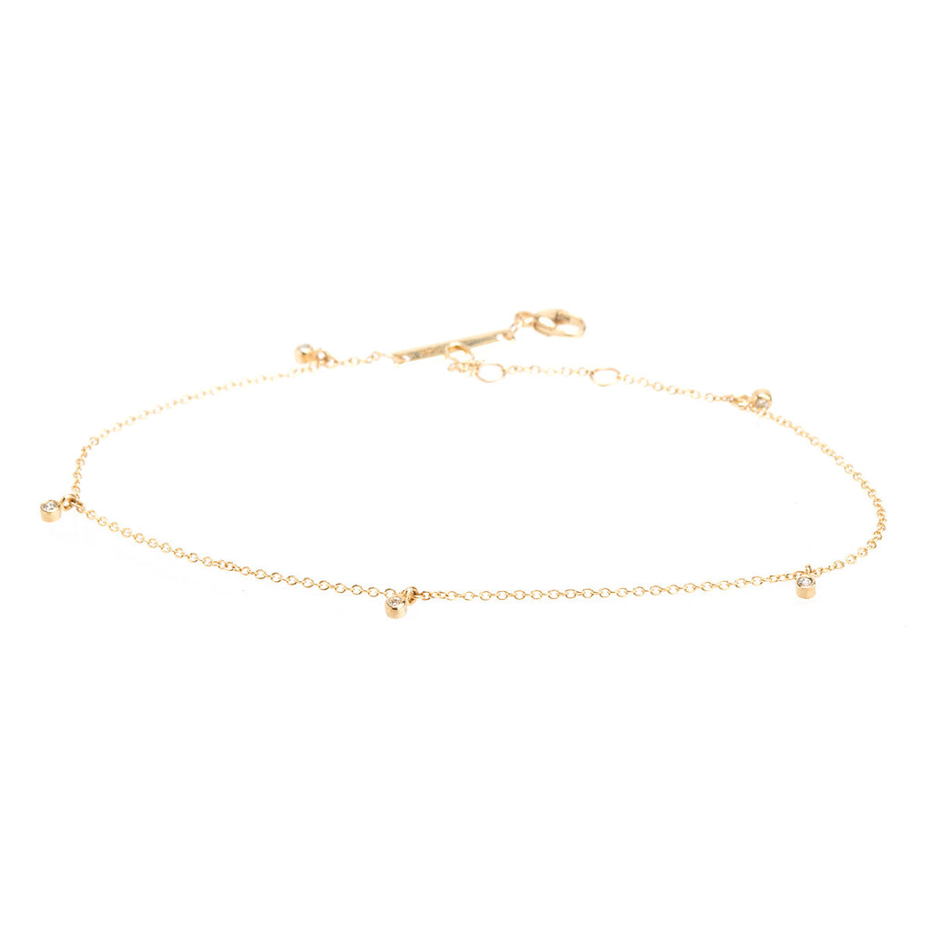 Zoë Chicco 14kt Yellow Gold Five Diamond Anklet