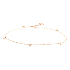 Zoë Chicco 14kt Rose Gold Five Diamond Anklet