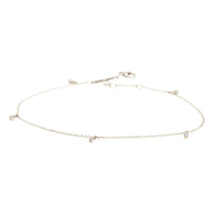 Zoë Chicco 14kt White Gold Five Diamond Anklet