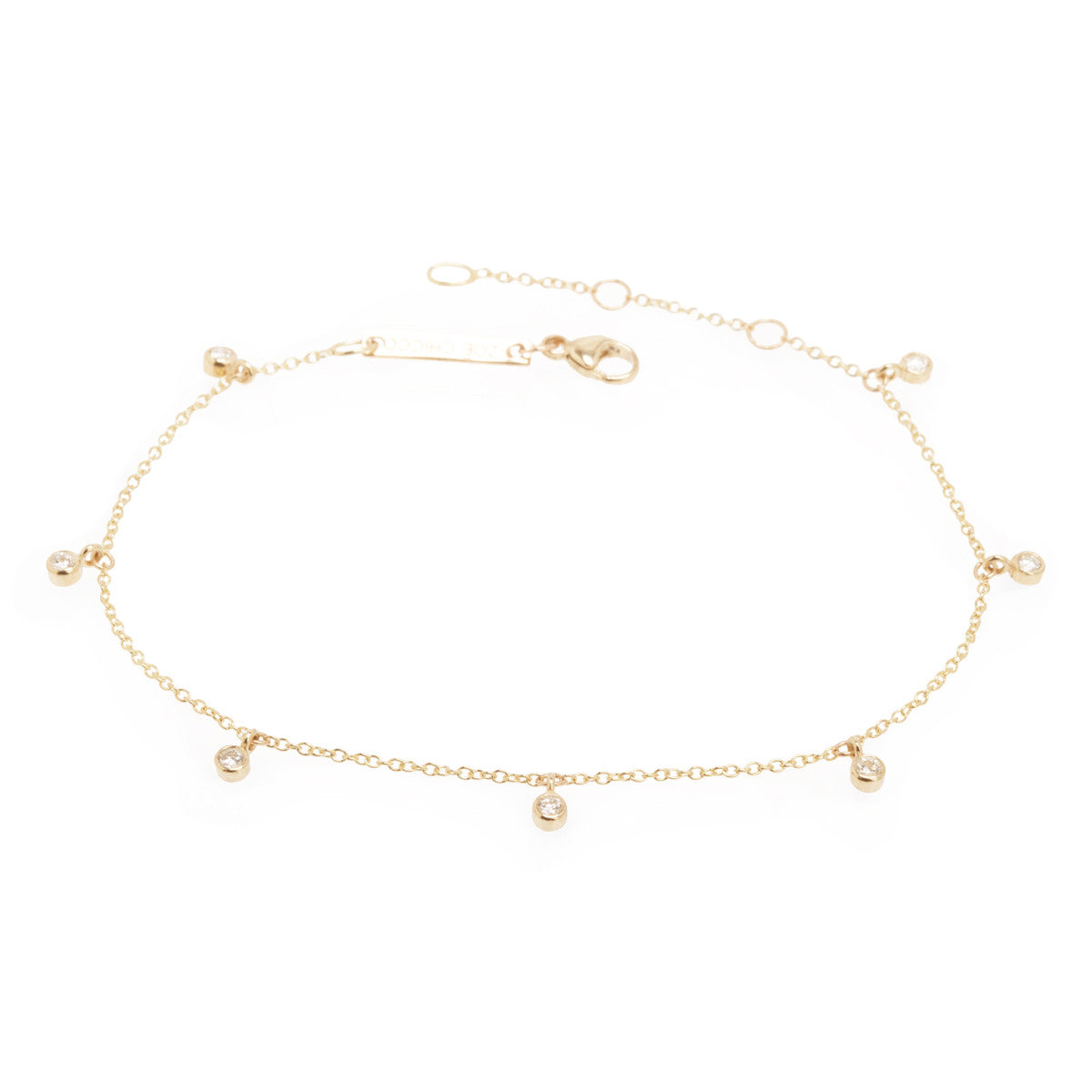 Zoë Chicco 14kt Yellow Gold 7 Dangling White Diamond Anklet