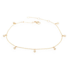 14k 7 dangling diamond anklet