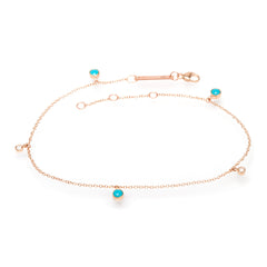 14k turquoise and diamond anklet