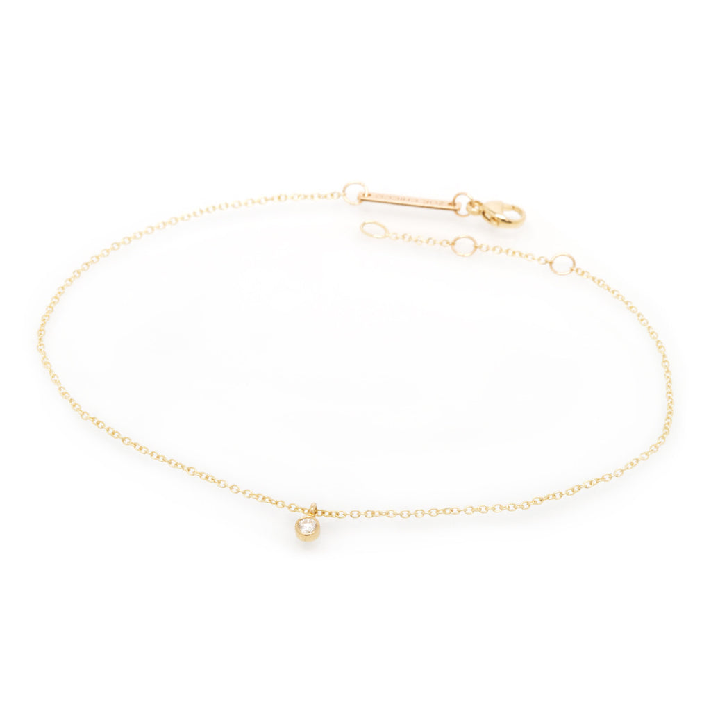 14k single dangling diamond anklet