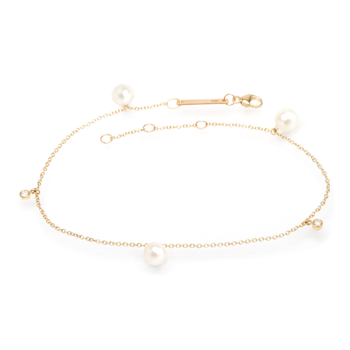 14k pearl and diamond anklet