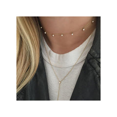 Zoë Chicco 14kt Gold 11 Scattered Diamond Dangling Choker Necklace Layered