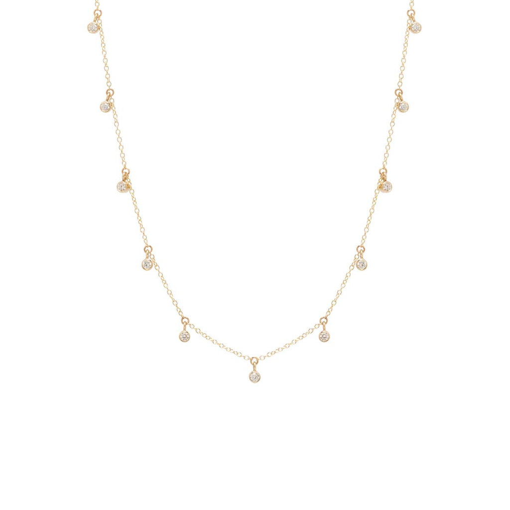 Zoë Chicco 14kt Yellow Gold 11 Scattered White Diamond Dangling Choker Necklace