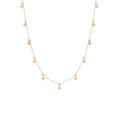 Zoë Chicco 14kt Rose Gold 11 Scattered White Diamond Dangling Choker Necklace