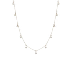 Zoë Chicco 14kt White Gold 11 Scattered White Diamond Dangling Choker Necklace