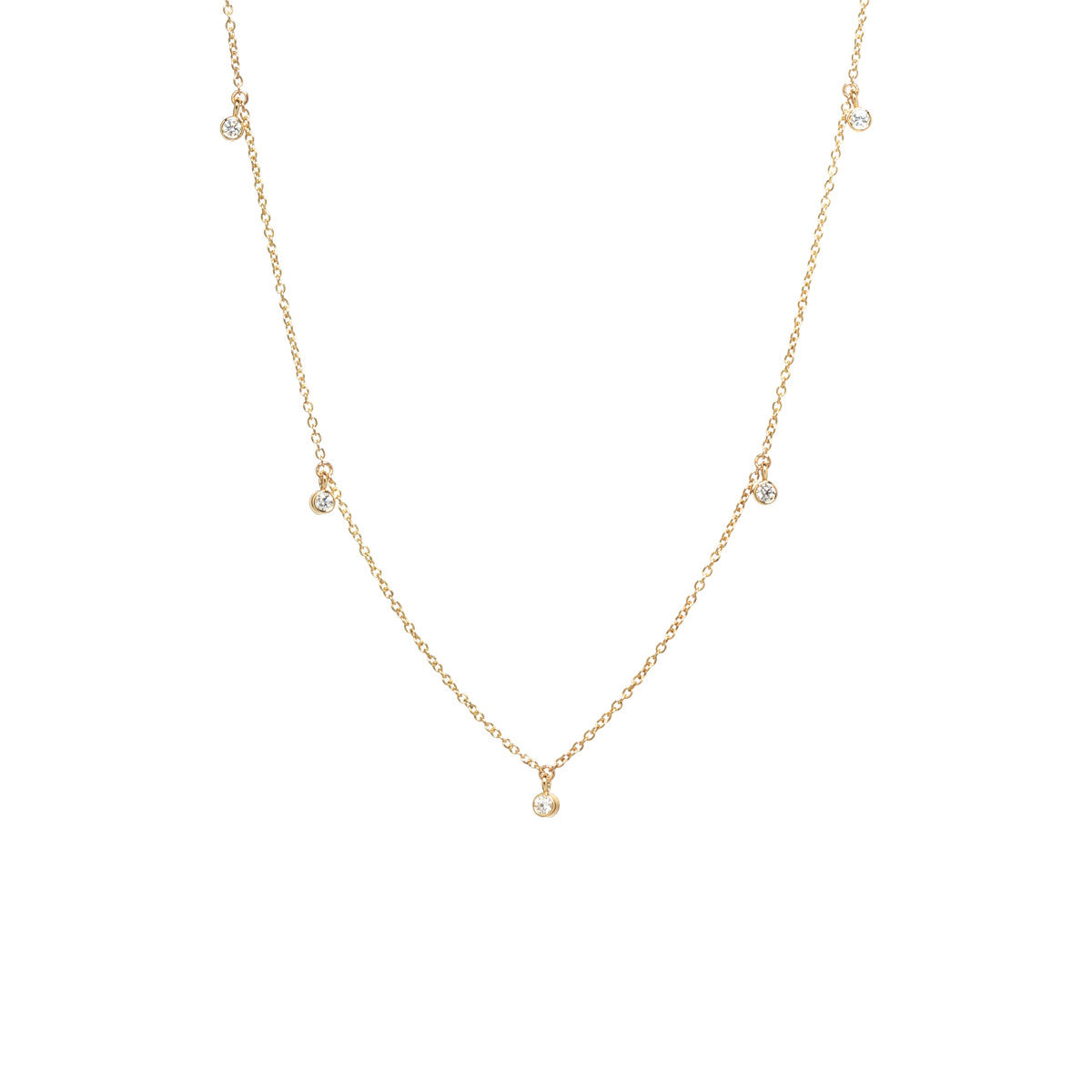 Zoë Chicco 14kt Yellow Gold 5 Dangling White Diamond Choker Necklace