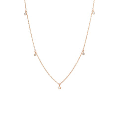 Zoë Chicco 14kt Rose Gold 5 Dangling White Diamond Choker Necklace