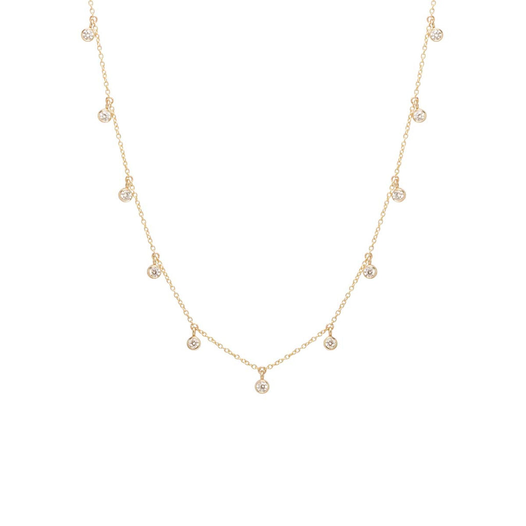 14k large 11 dangling diamond choker