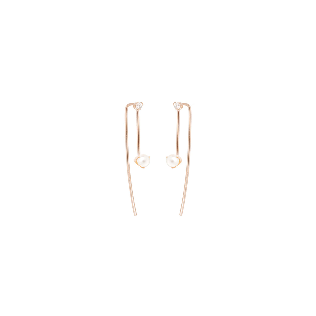 14k pearl and diamond wire threaders