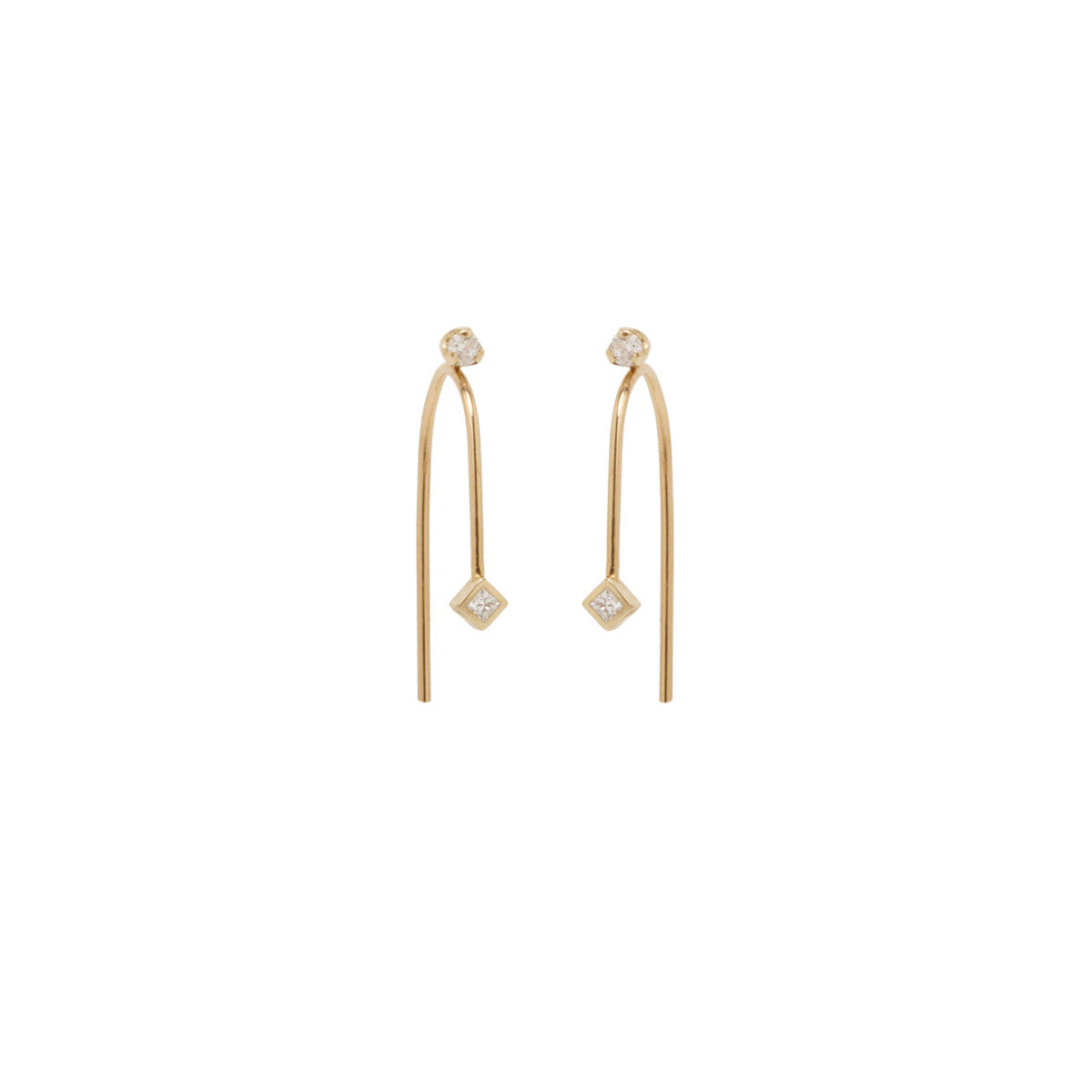 14k small wire mixed diamond earrings