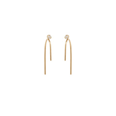 14k small floating diamond wire earrings