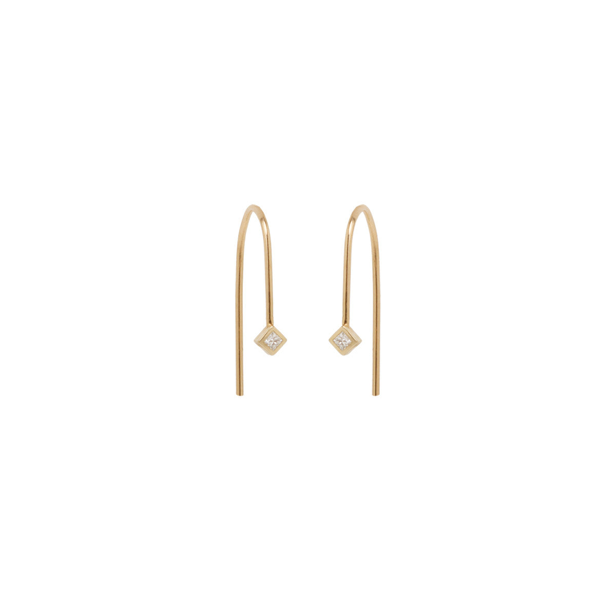 14k small wire princess diamond earrings