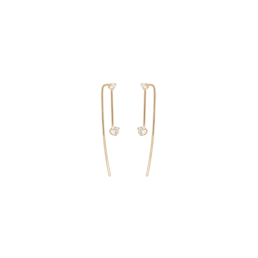 14k mixed prong set diamond wire earrings