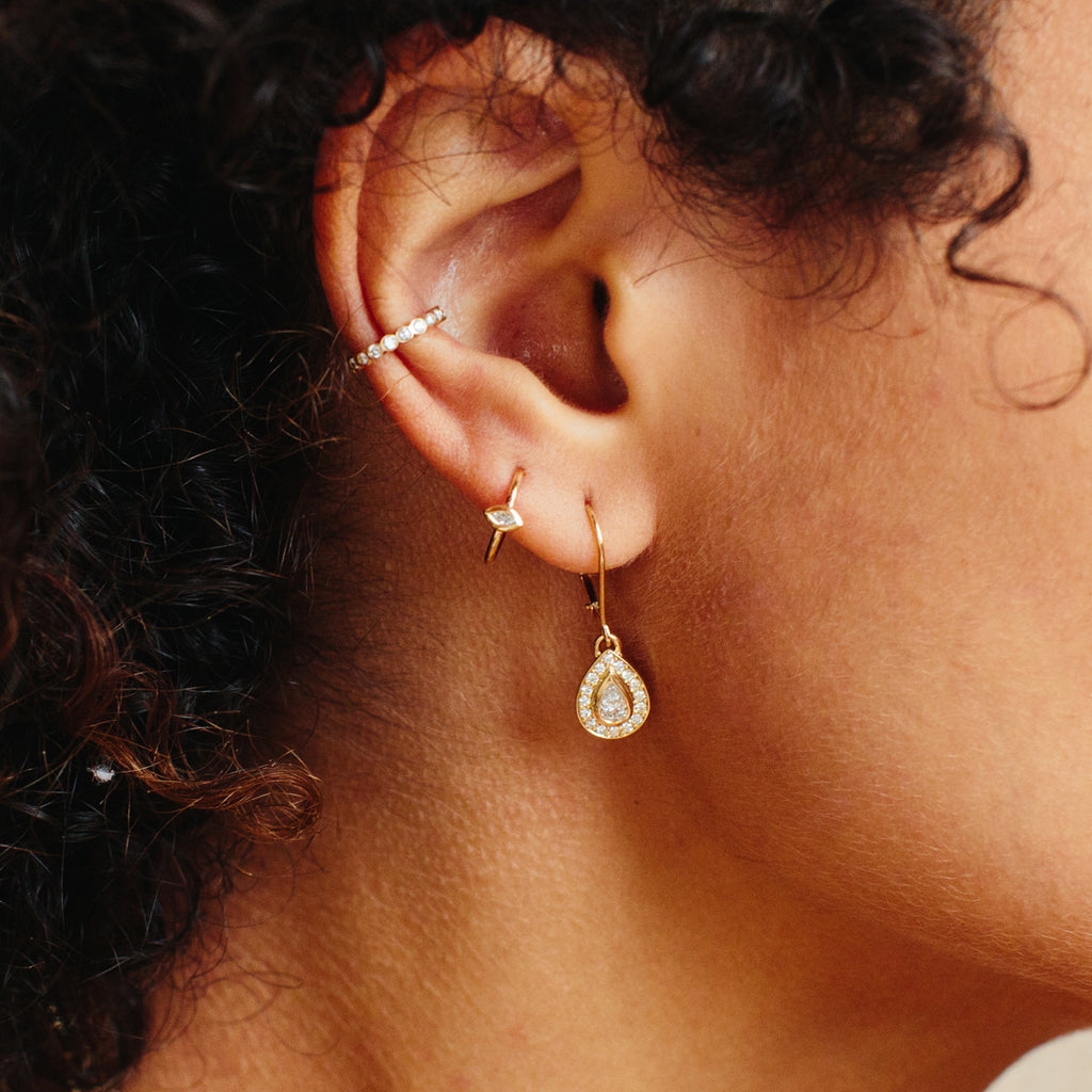14k pear diamond drop earrings with pave halo