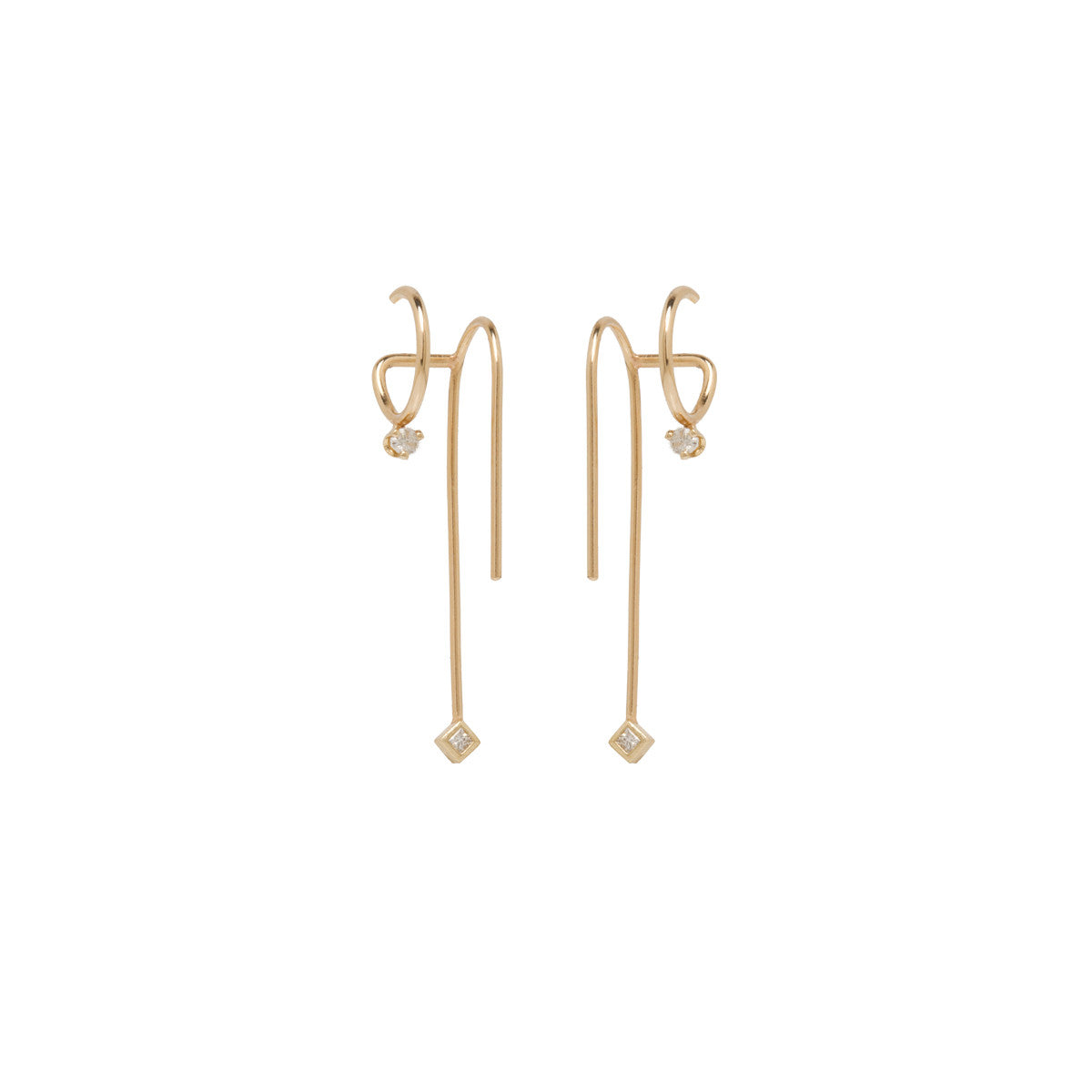 14k mixed diamond double wire illusion earrings