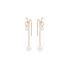 14k pearl double wire illusion earrings
