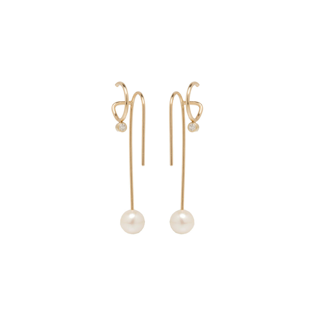 14k pearl and diamond double wire illusion earrings