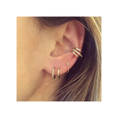 14k pave double huggie hoops