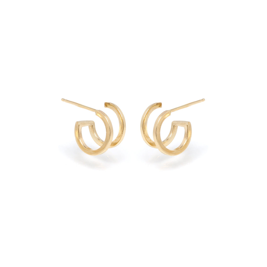 14k double huggie hoops