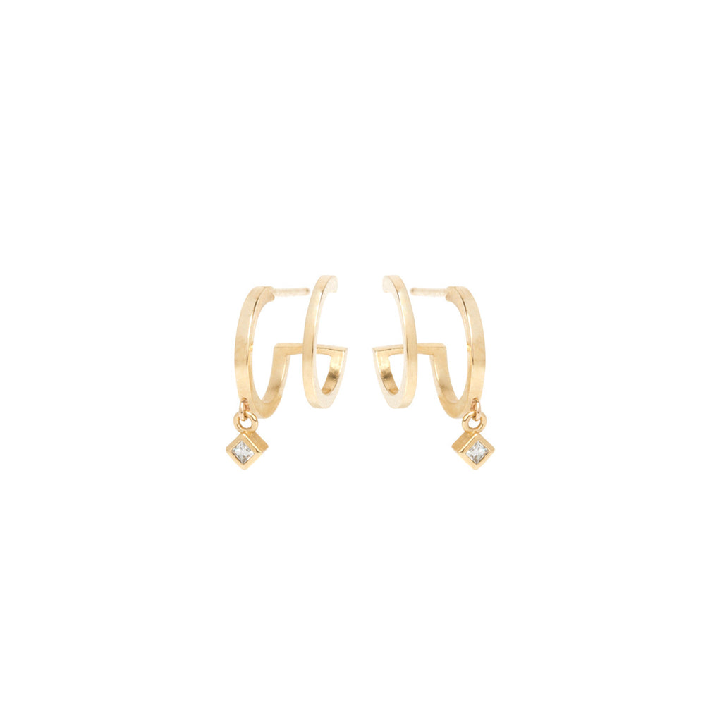 14k princess diamond dangle double huggie hoops