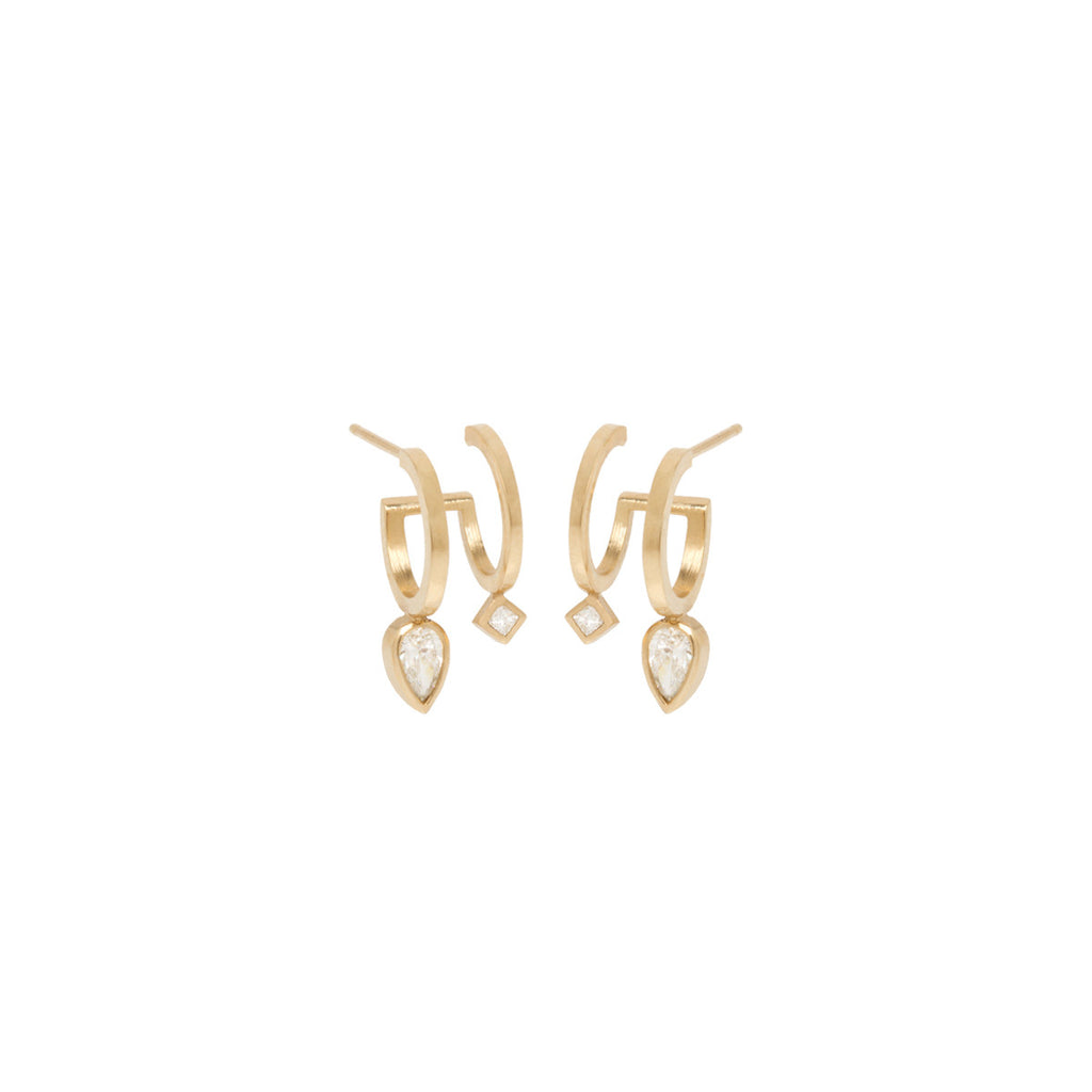 14k pear and princess diamond double huggie hoops