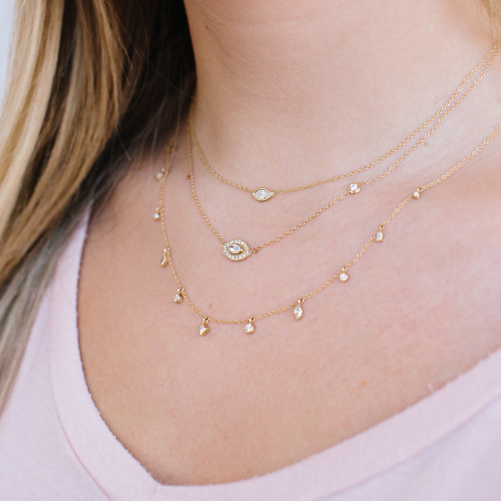 Zoë Chicco 14kt Yellow Gold Floating Marquis Diamond Necklace