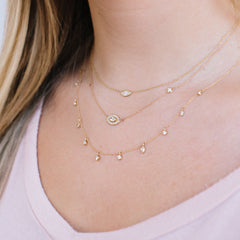 14k floating marquis diamond necklace