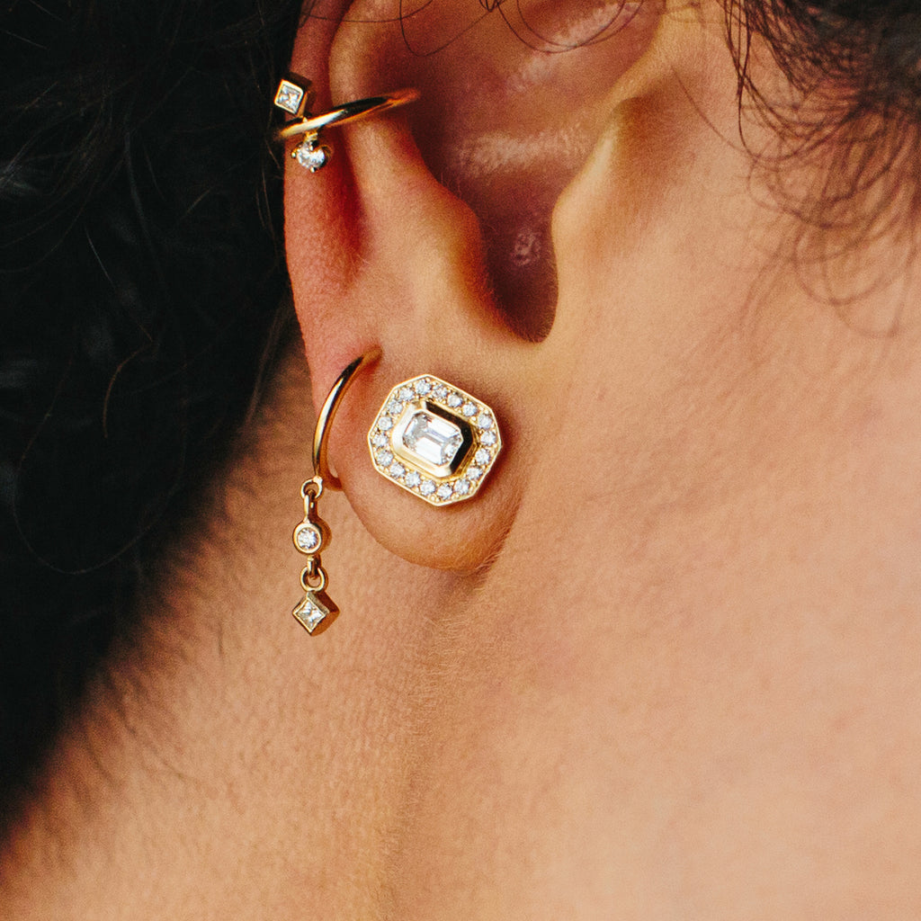 14k dangling two diamond thin huggie hoops