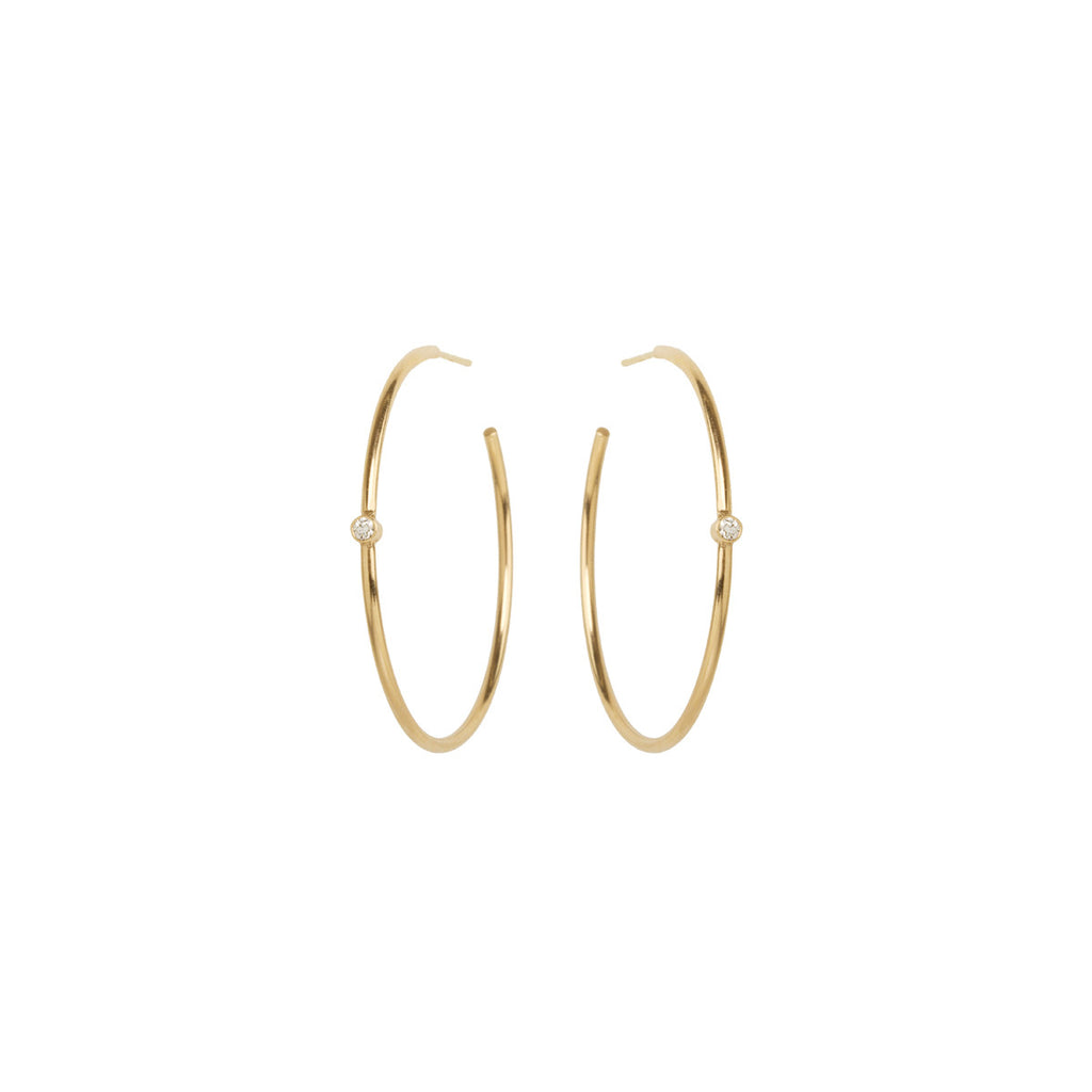 14k single diamond hoops