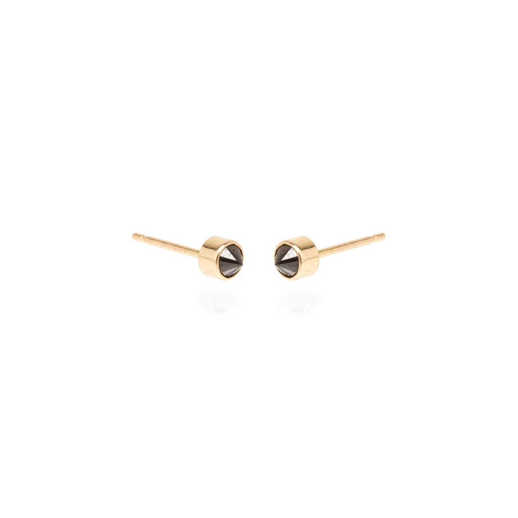 Zoë Chicco 14kt Yellow Gold Inverted Bezel Set Black Diamond Stud Earrings