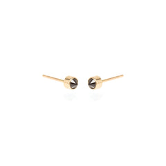 14k bezel set inverted black diamond studs