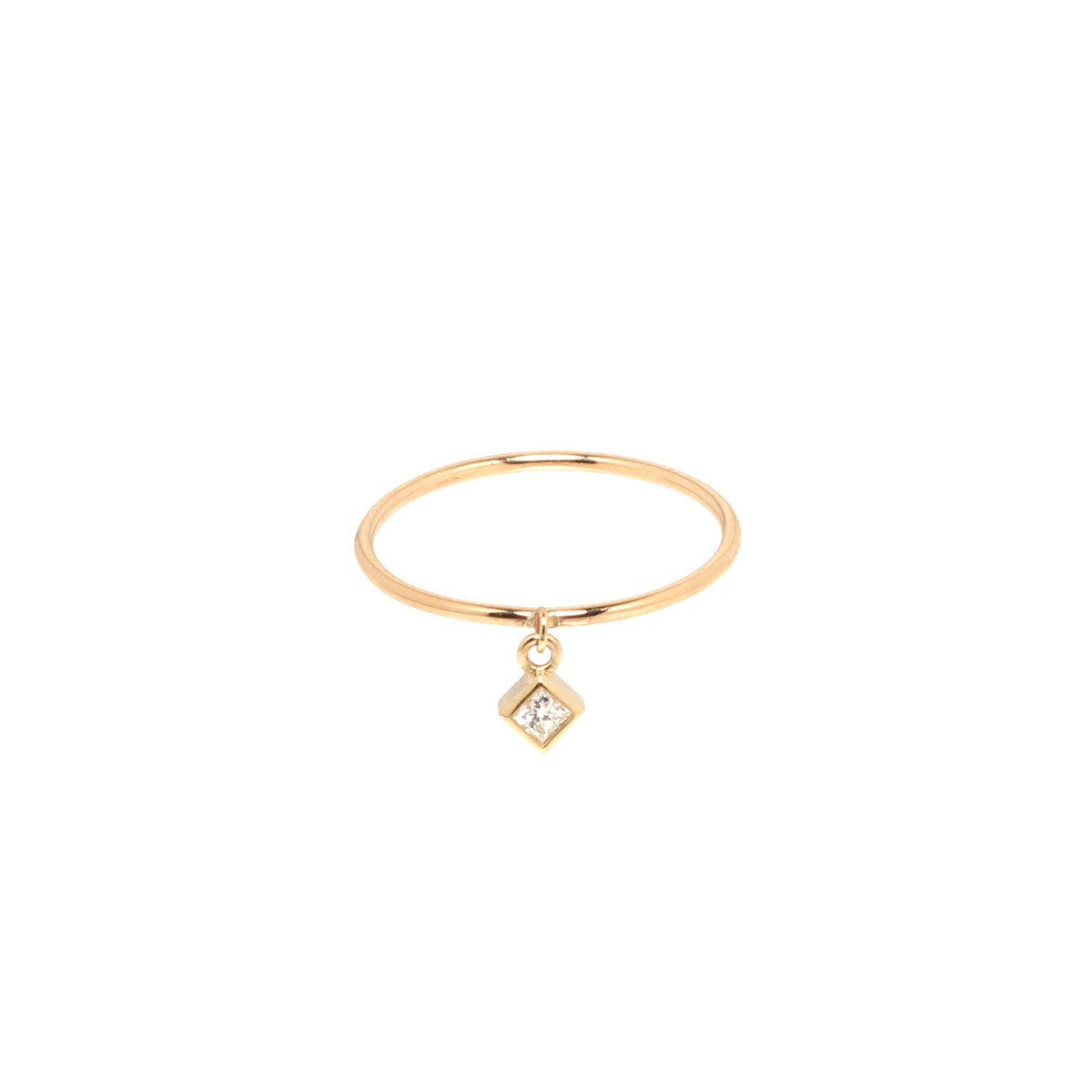 14k square diamond charm band