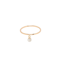 Zoë Chicco 14kt Yellow Gold Dangling Pearl Ring