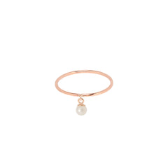 Zoë Chicco 14kt Rose Gold Dangling Pearl Ring