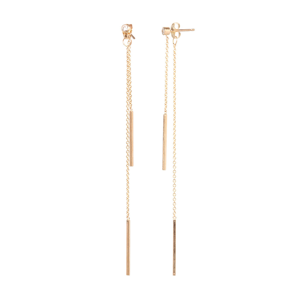 Zoë Chicco 14kt Yellow Gold 2 Bar Diamond Stud Earrings