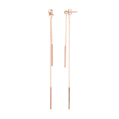 Zoë Chicco 14kt Rose Gold 2 Bar Diamond Stud Earrings