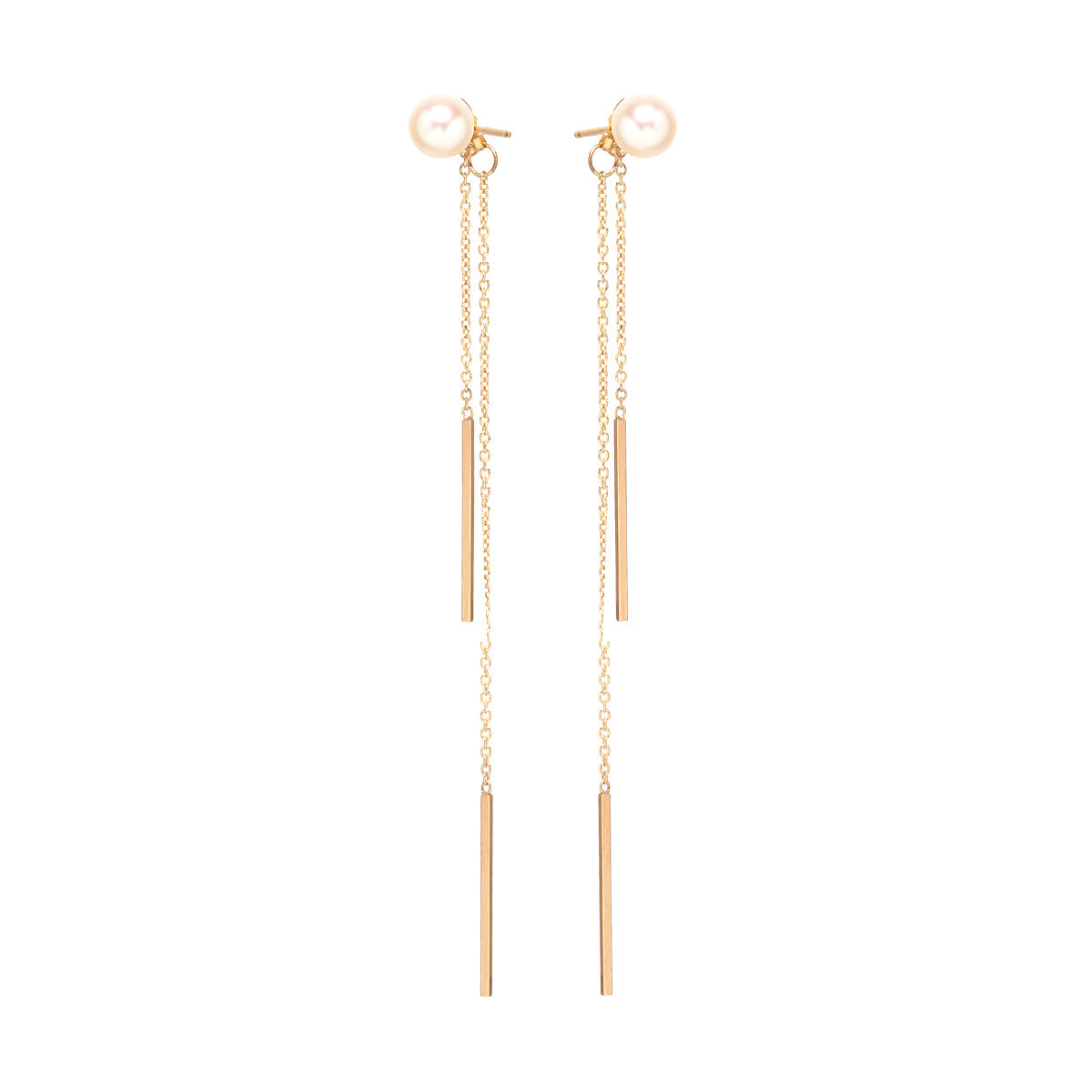 14K pearl and double bar drop earrings