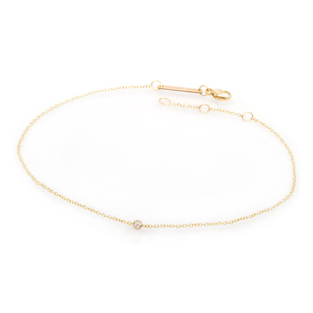 14k single floating diamond anklet