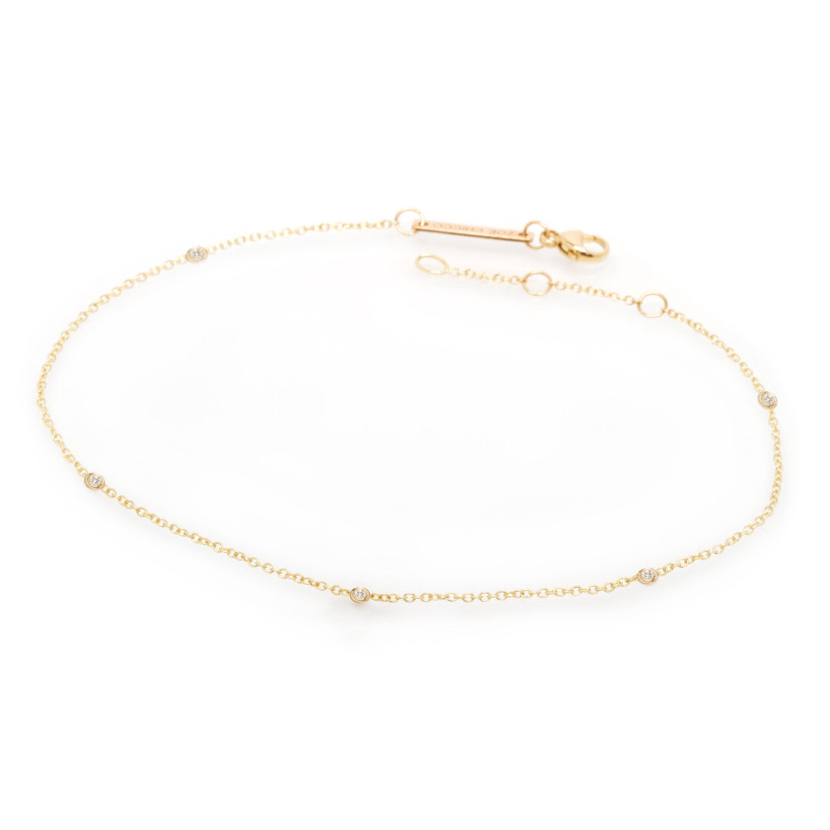14k white diamonds by the yard anklet