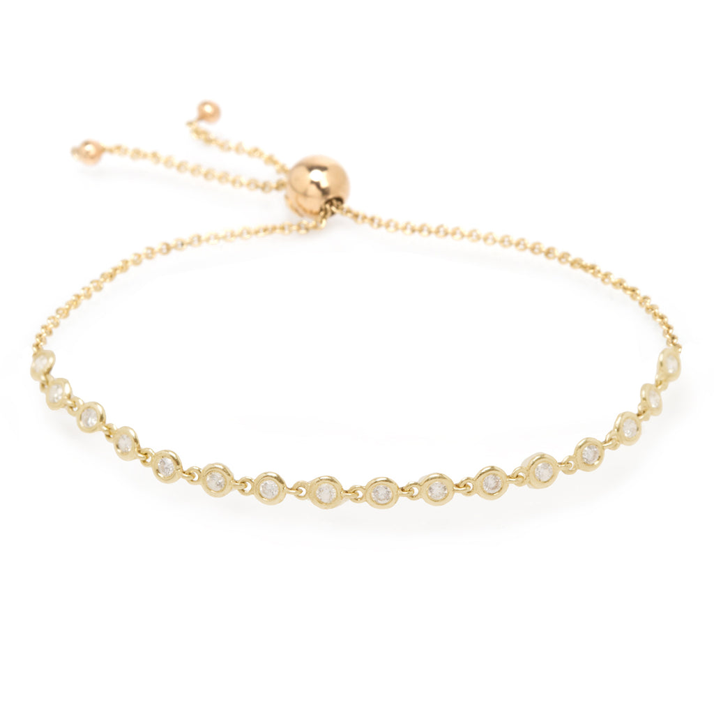 14k linked diamond tennis bolo bracelet