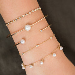 14k diamond and pearl open cuff